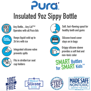 Pura Kiki 260ml Insulated Toddler Sippy - Natural