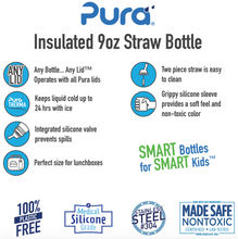 Load image into Gallery viewer, Pura Kiki 260ml Insulated Straw Stainless Steel Bottle - Slate