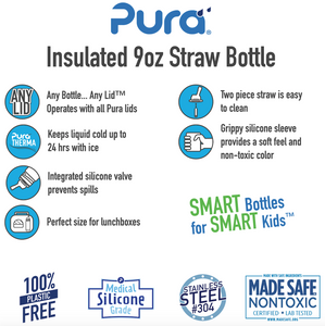 Pura Kiki 260ml Insulated Straw Stainless Steel Bottle - Slate