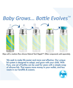 Pura Kiki 260ml Insulated Infant Stainless Steel Bottle - Natural