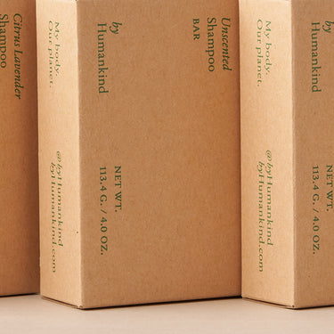 The side of our shampoo bar box, made out of recycled paper.