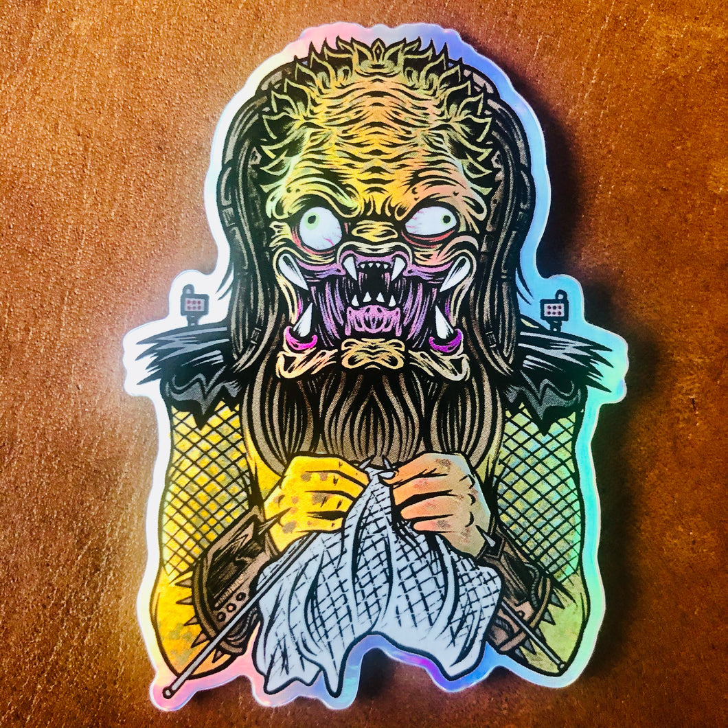 Knitting Predator Sticker