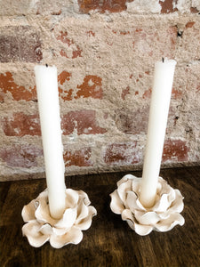 White flower candlestick set of 2