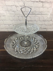 Two tier glass stand