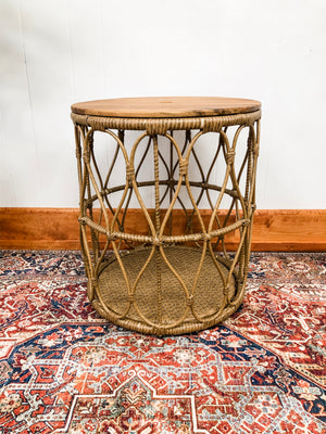 Rattan round side table