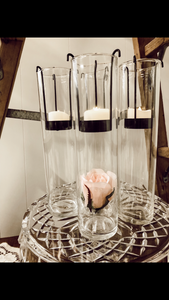 Tall candle votives with black holder