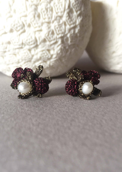 flower pearls earrings chic atelier godole