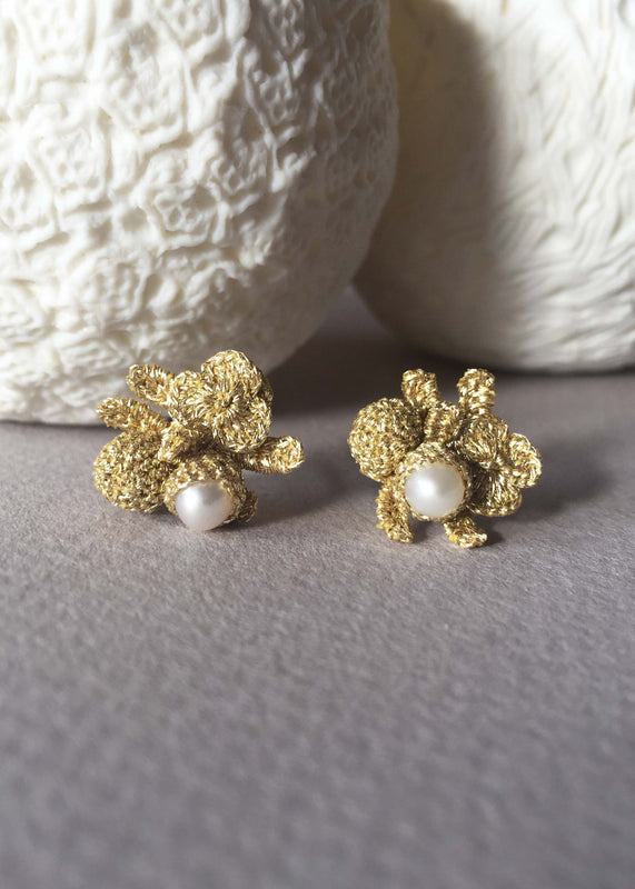 flower pearls earrings bridal atelier godole
