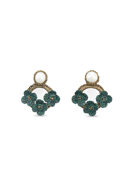 Atelier Godolé azay le rideau earrings green with pearls