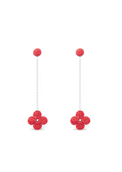Atelier Godolé earrings flowers coral, silver sterling