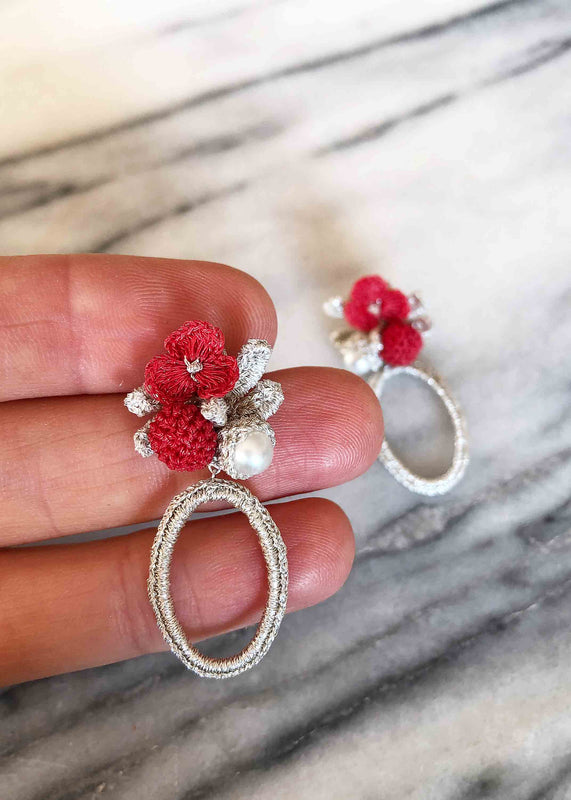 Aria Flowers Oval Shape Earrings