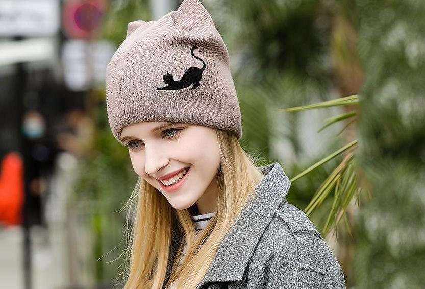 20baa7919ae860 ... Cute Cat Bow-Knot Winter Beanie for Women, High Quality Warm Wool Skull  Caps ...
