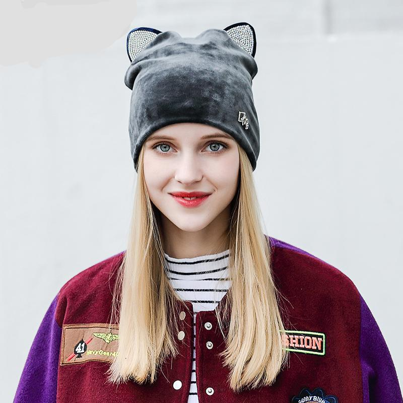 d96781079501a2 Cute Cat Ear Rhinestone Flannelette Beanie Hat For Women Ladies, High  Quality Comfortable Skull Caps ...