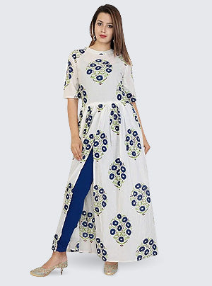 Buy Printed Kurti In White