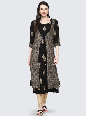 Buy Rayon Printed Kurta in Black Online