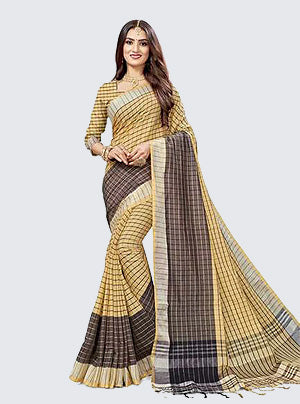 Cotton art silk woven work saree in Beige