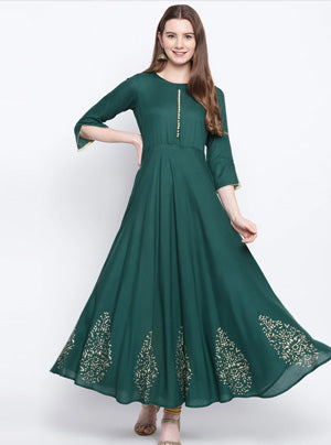 Rayon Flared kurta in Bottle green