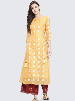 Chanderi A-line Kurta in yellow