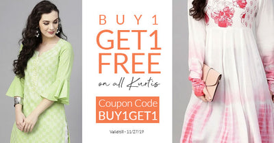 Buy1Get1 Free on all Kurtis