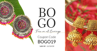 Buy1Get1 Free on Earrings| Use Code BOGO19
