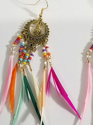 TASSLE AND FEATHER EARRINGS