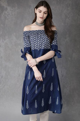 Off-Shoulder Straight Kurti