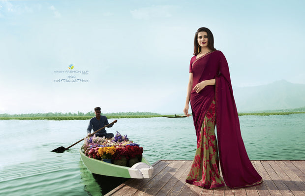 Vinay Fashions Women's Silk Saree in Maroon