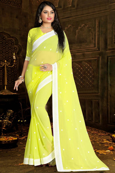 Buy Faux Georgette Embroidery Saree in Lemon