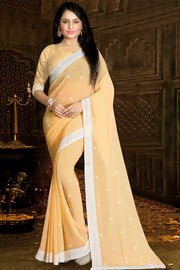 Buy Faux Georgette Embroidery Saree in Fawn