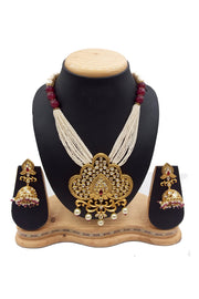 Buy Women's Brass Necklace Set in Gold and Red
