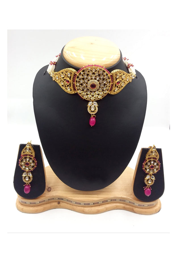 Buy Women's Brass Necklace Set in Gold and Wine