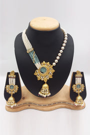 Buy Women's Brass Necklace Set in Gold and White
