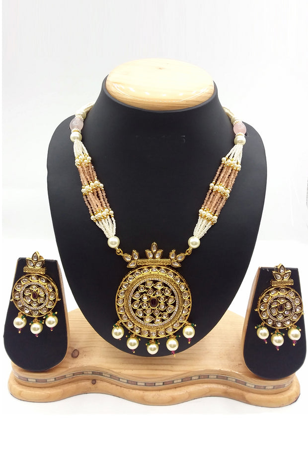 Buy Women's Brass Necklace Set in Gold and Multicolor