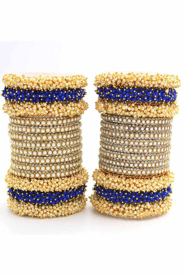 Bangles By Leshya Brass Bangles in Blue - Set of 2