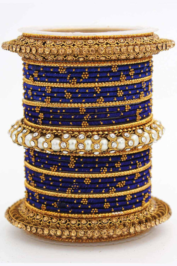 Women's Brass Bangles in Blue