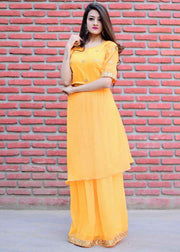 Thread & Button Chiffon Solid Skirt Dress in Yellow