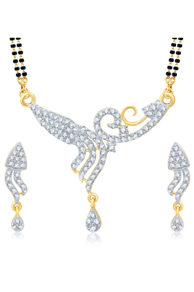 Alloy Mangalsutra Set in White and Golden