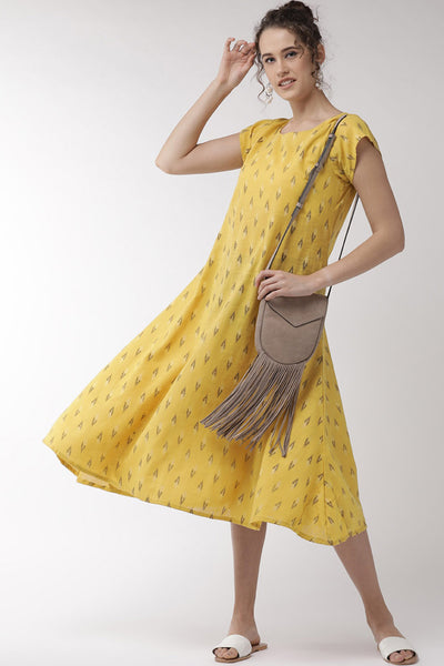 Blended Cotton Embroidered Dress in Mustard