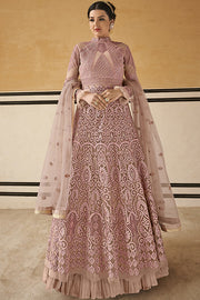 Net Embroidered Dress Material in Light Pink