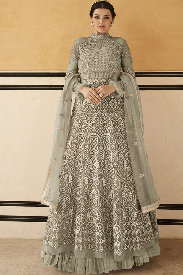 Net Embroidered Dress Material in Light Grey