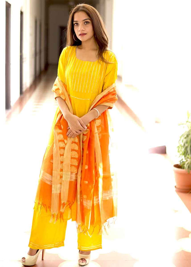 Thread & Button Rayon Solid Suit Set in Yellow