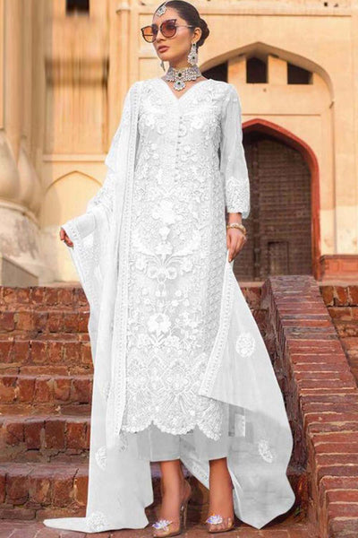 Net Embroidered Salwar Kameez in Off-White
