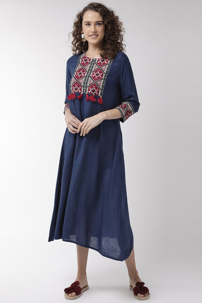 Viscose Rayon Embroidered Dress in Navy Blue