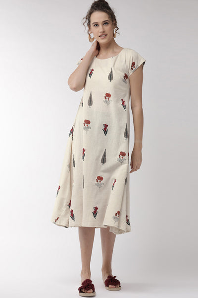 Blended Cotton Embroidered Dress in Off White