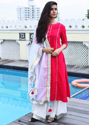 Thread & Button Cotton Solid Suit Set in Red