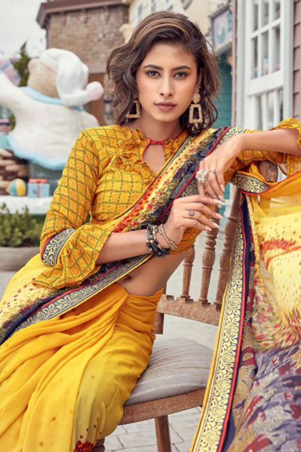 Atool Georgette Saree in Yellow