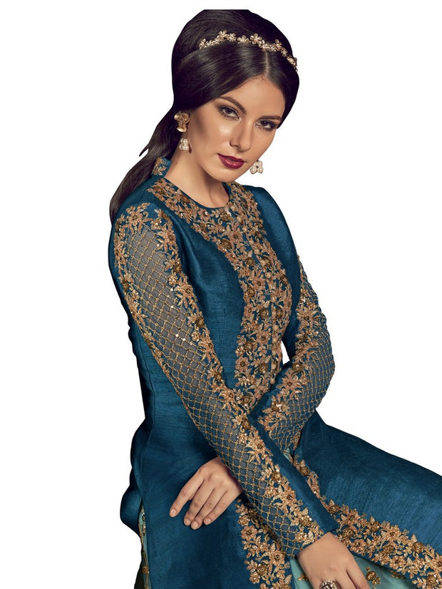 c4ba504e8d Stylee Lifestyle Women's Raw Silk Embroidered Salwar Suit in Royal Blue
