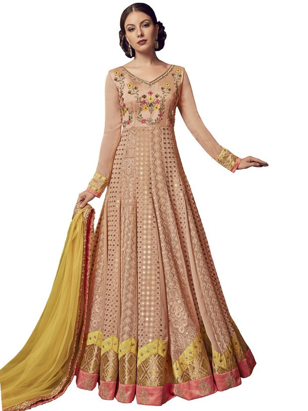 Georgette Embroidered Dress Material in Peach