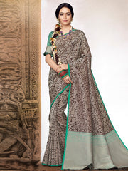 Stylee Lifestyle Women's Banarasi Jacquard Woven Saree in Brown