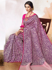 Stylee Lifestyle Women's Banarasi Jacquard Woven Saree in Purple